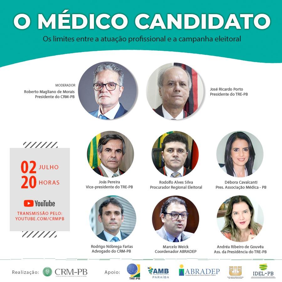 CRM-PB lança Cartilha Eleitoral para médicos candidatos em conferência online
